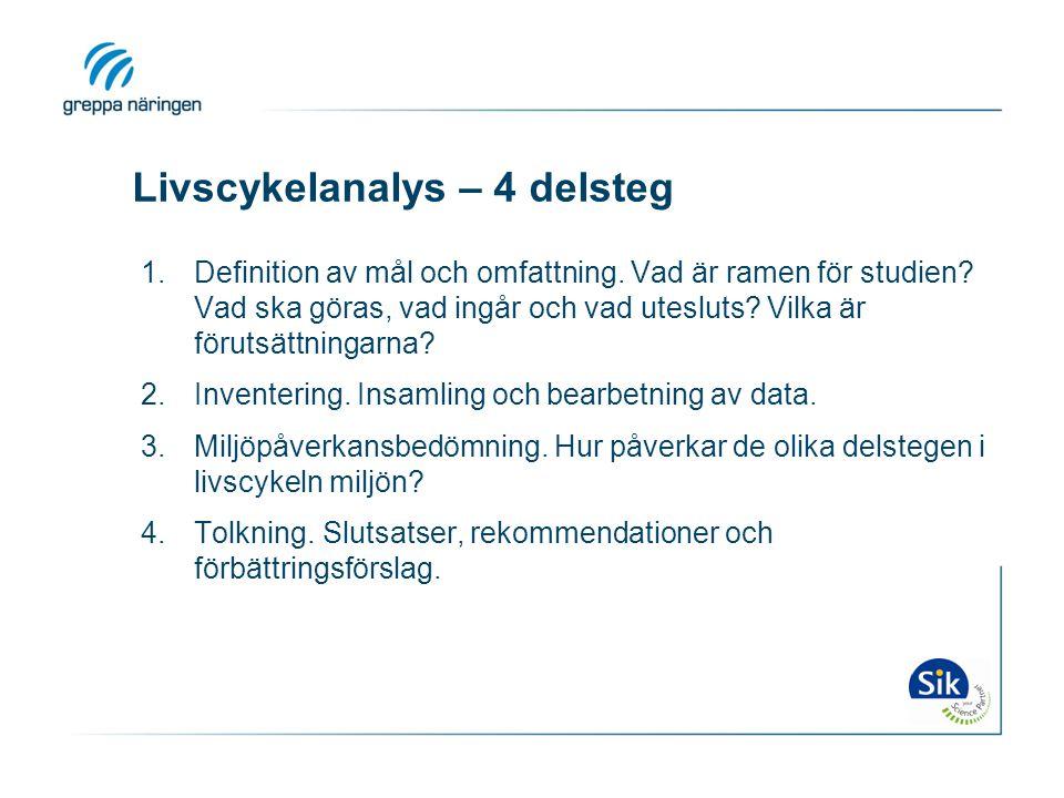 Livscykelanalys – 4 delsteg 1.Definition av mål och omfattning. Vad är ramen för studien? Vad ska göras, vad ingår och vad utesluts? Vilka är förutsät