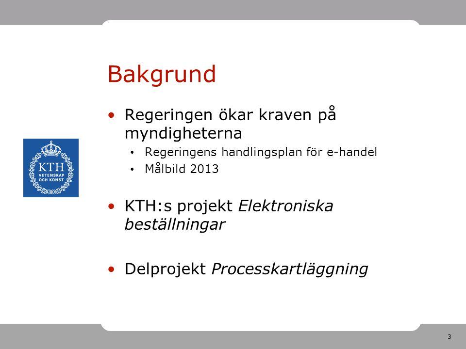 3 Bakgrund Regeringen ökar kraven på myndigheterna Regeringens handlingsplan för e-handel Målbild 2013 KTH:s projekt Elektroniska beställningar Delpro