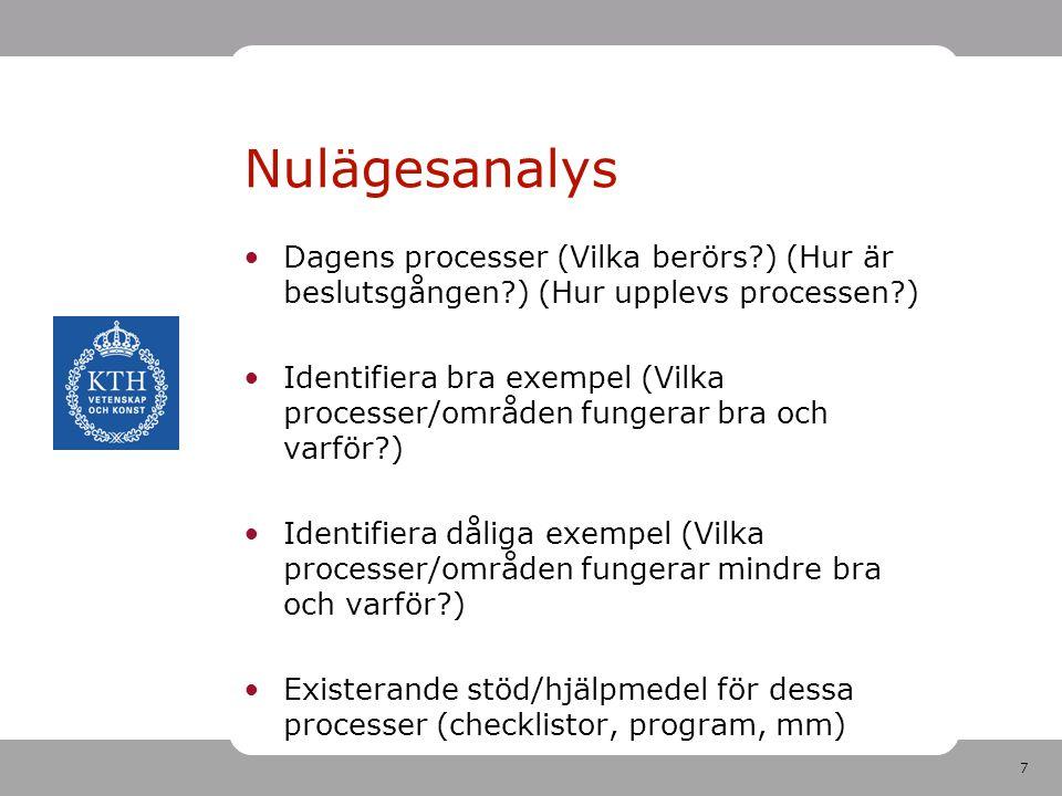 7 Dagens processer (Vilka berörs?) (Hur är beslutsgången?) (Hur upplevs processen?) Identifiera bra exempel (Vilka processer/områden fungerar bra och