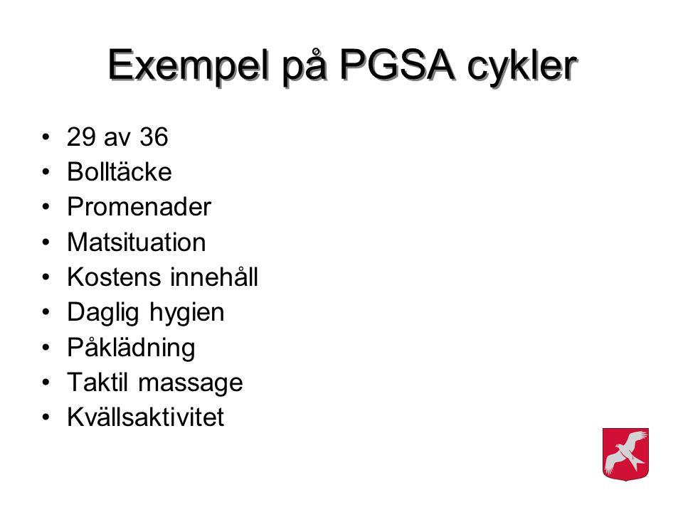 Exempel på PGSA cykler 29 av 36 Bolltäcke Promenader Matsituation Kostens innehåll Daglig hygien Påklädning Taktil massage Kvällsaktivitet