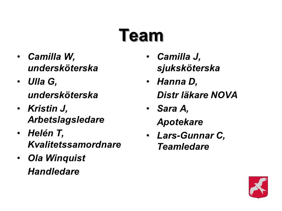 Team Camilla W, undersköterska Ulla G, undersköterska Kristin J, Arbetslagsledare Helén T, Kvalitetssamordnare Ola Winquist Handledare Camilla J, sjuk