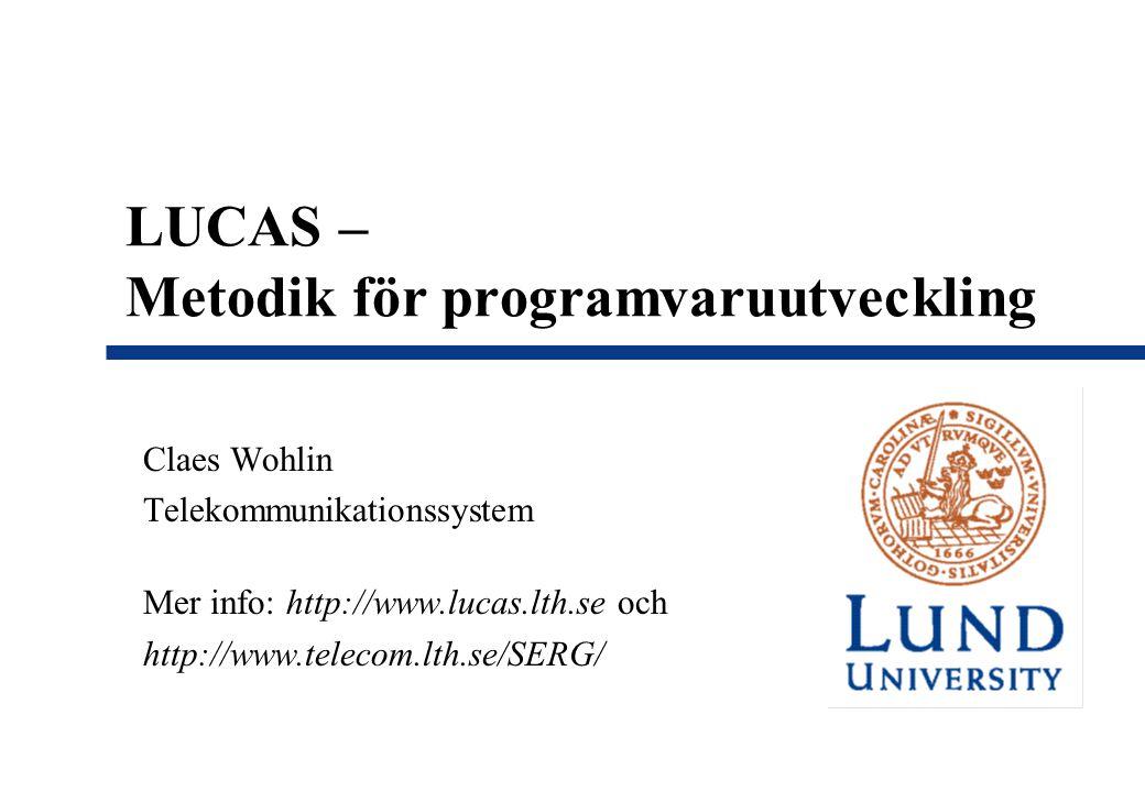 LUCAS – Metodik för programvaruutveckling Claes Wohlin Telekommunikationssystem Mer info: http://www.lucas.lth.se och http://www.telecom.lth.se/SERG/