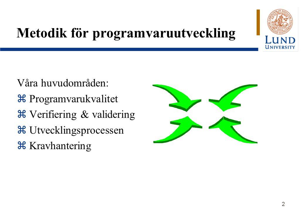 2 Metodik för programvaruutveckling Våra huvudområden: z Programvarukvalitet z Verifiering & validering z Utvecklingsprocessen z Kravhantering