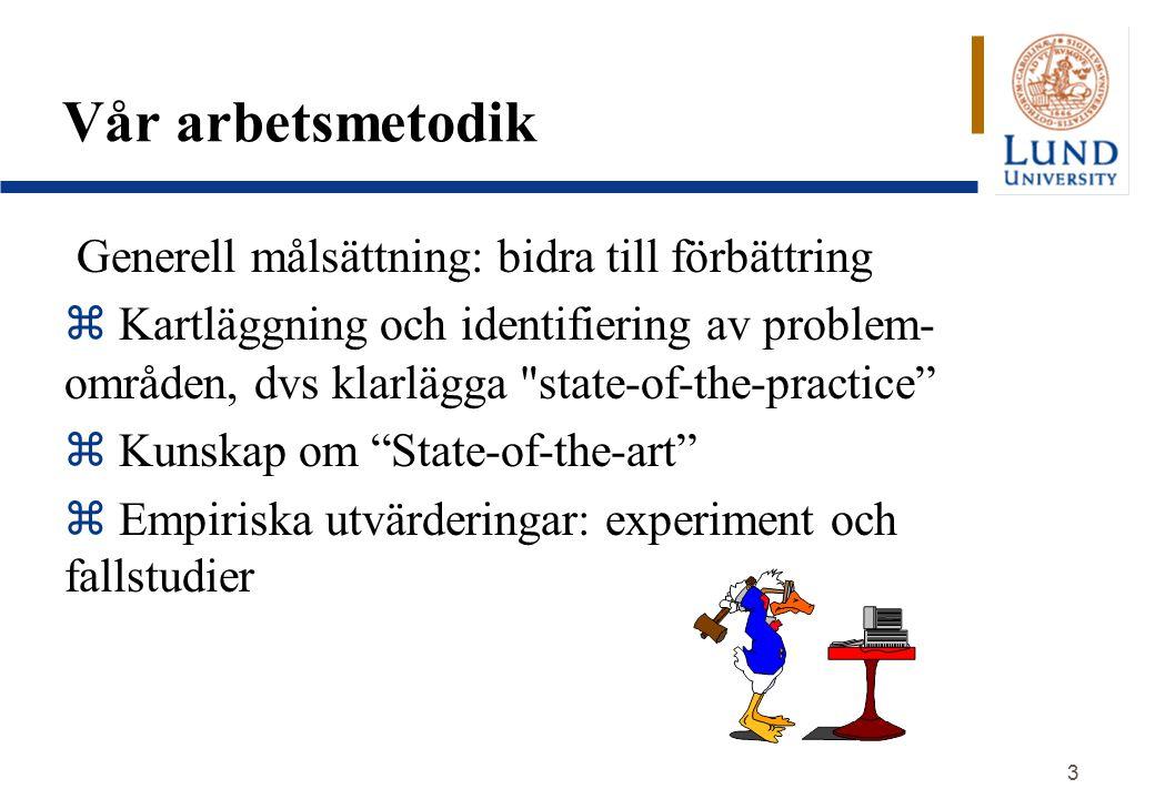 3 Vår arbetsmetodik Generell målsättning: bidra till förbättring  Kartläggning och identifiering av problem- områden, dvs klarlägga state-of-the-practice z Kunskap om State-of-the-art z Empiriska utvärderingar: experiment och fallstudier