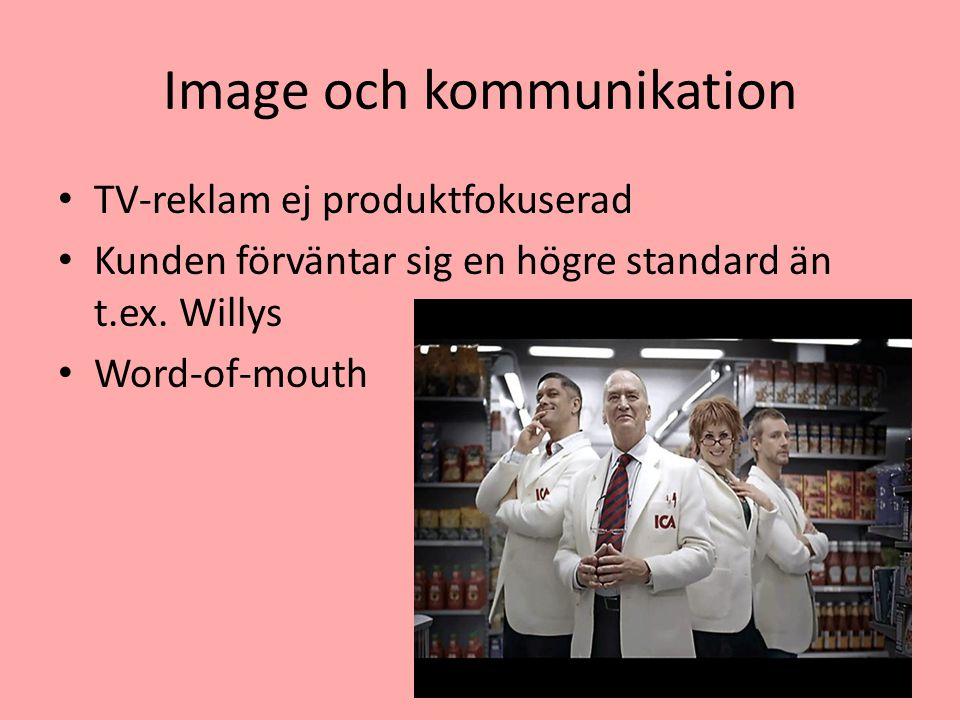 Image och kommunikation TV-reklam ej produktfokuserad Kunden förväntar sig en högre standard än t.ex. Willys Word-of-mouth