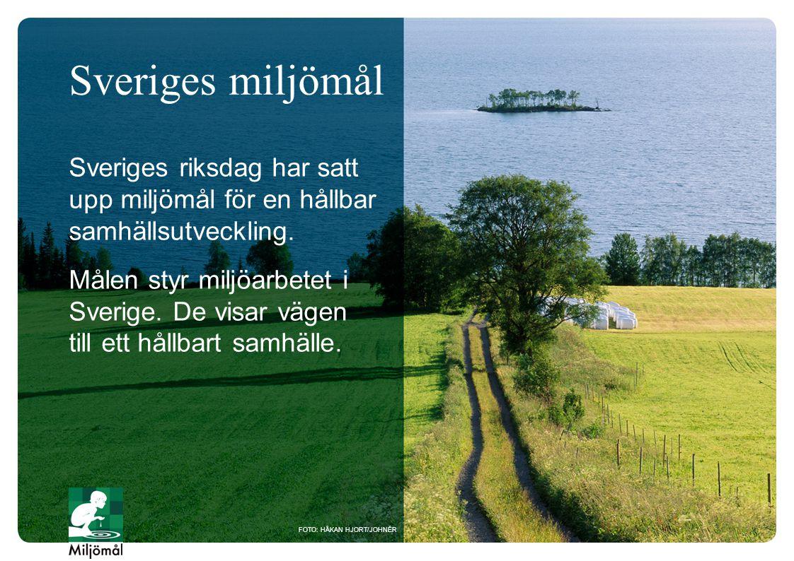 Sveriges riksdag har satt upp miljömål för en hållbar samhällsutveckling. Målen styr miljöarbetet i Sverige. De visar vägen till ett hållbart samhälle