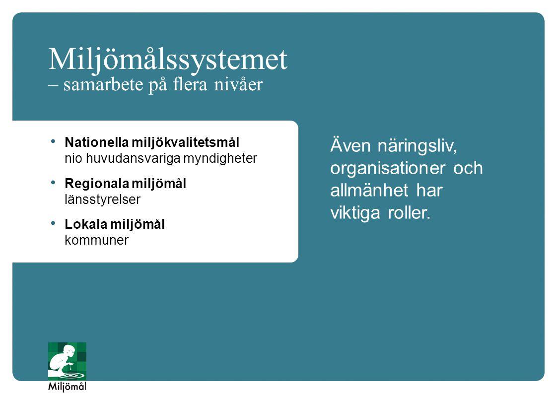 Miljömålssystemet – samarbete på flera nivåer Även näringsliv, organisationer och allmänhet har viktiga roller. Nationella miljökvalitetsmål nio huvud