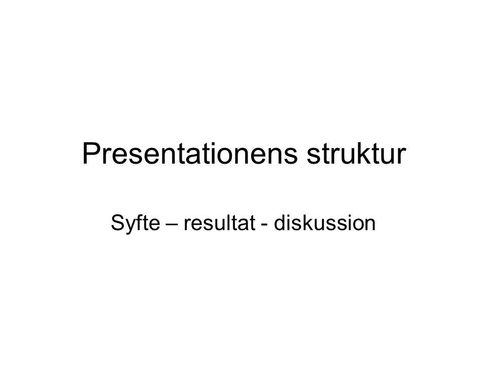 Presentationens struktur Syfte – resultat - diskussion