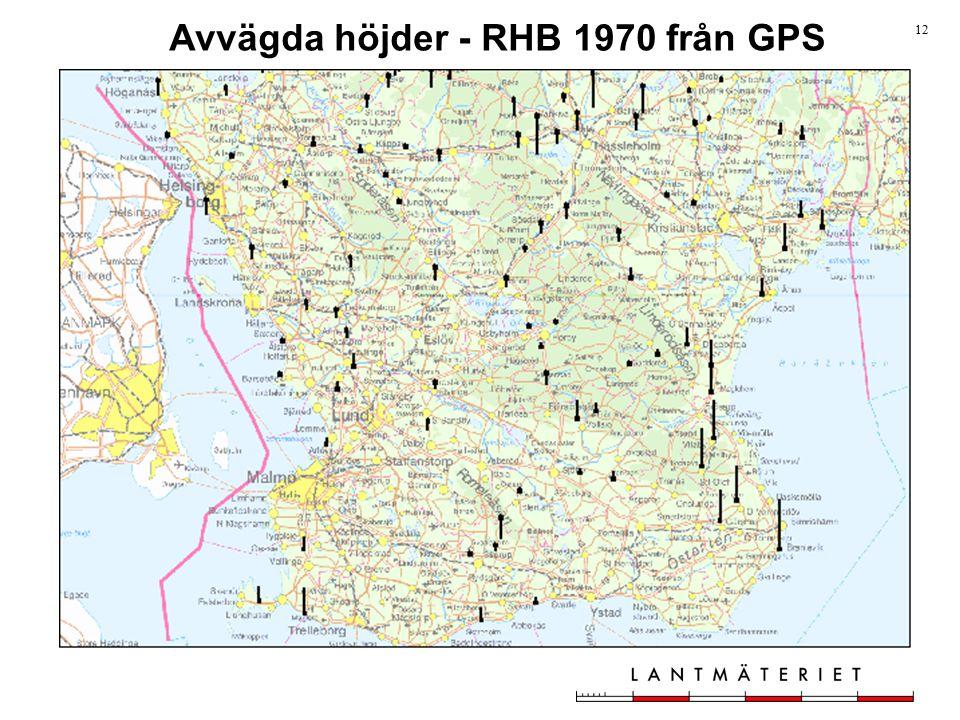 12 Avvägda höjder - RHB 1970 från GPS