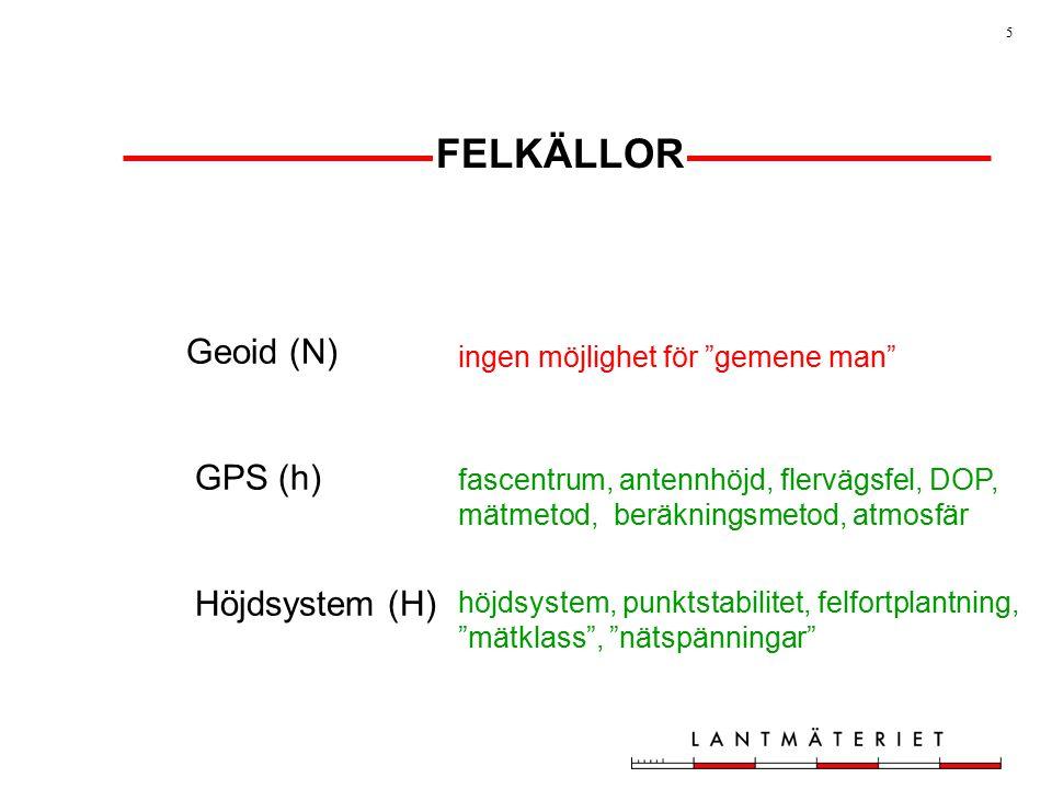 5 FELKÄLLOR Geoid (N) GPS (h) Höjdsystem (H) ingen möjlighet för gemene man fascentrum, antennhöjd, flervägsfel, DOP, mätmetod, beräkningsmetod, atmosfär höjdsystem, punktstabilitet, felfortplantning, mätklass , nätspänningar