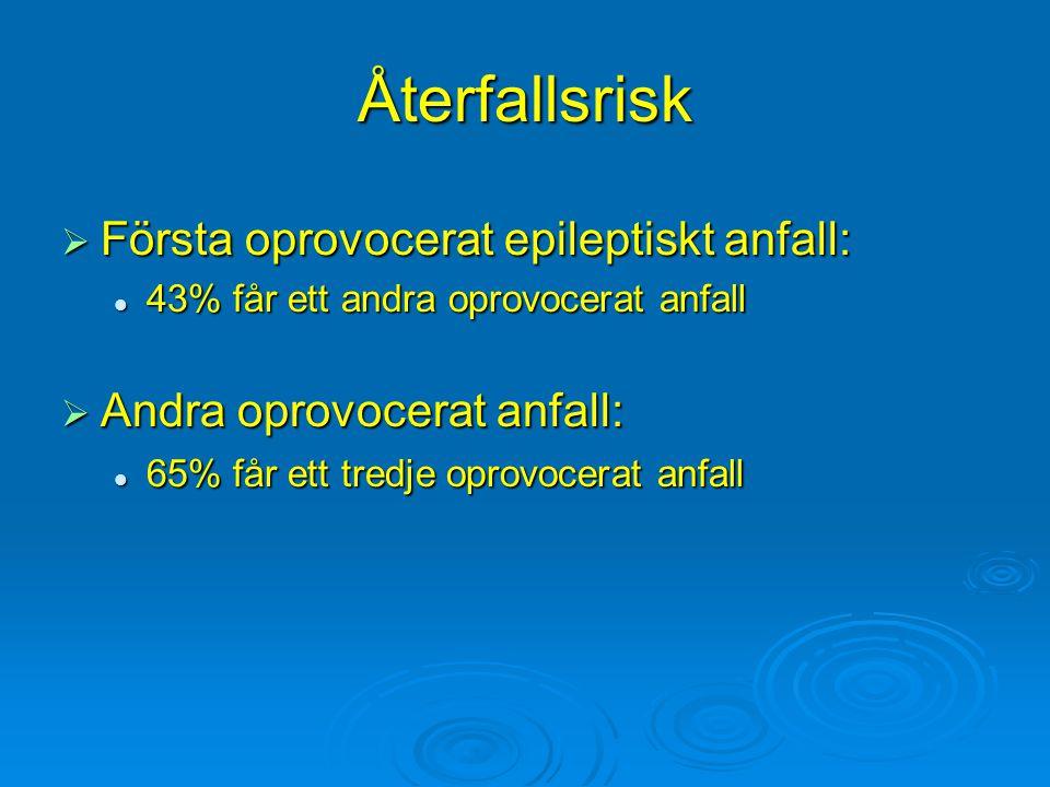 Återfallsrisk  Första oprovocerat epileptiskt anfall: 43% får ett andra oprovocerat anfall 43% får ett andra oprovocerat anfall  Andra oprovocerat a