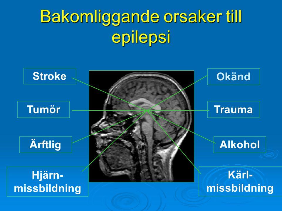 Bakomliggande orsaker till epilepsi Kärl- missbildning Hjärn- missbildning Okänd ÄrftligAlkohol Stroke TraumaTumör