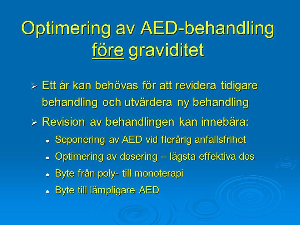 Optimering av AED-behandling före graviditet  Ett år kan behövas för att revidera tidigare behandling och utvärdera ny behandling  Revision av behan