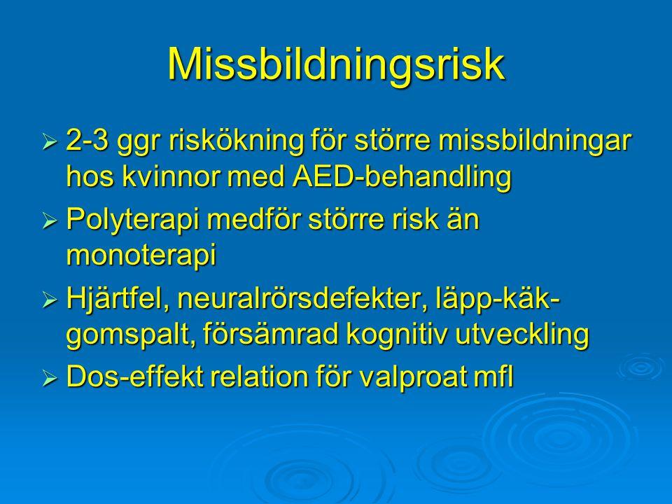 Missbildningsrisk  2-3 ggr riskökning för större missbildningar hos kvinnor med AED-behandling  Polyterapi medför större risk än monoterapi  Hjärtf