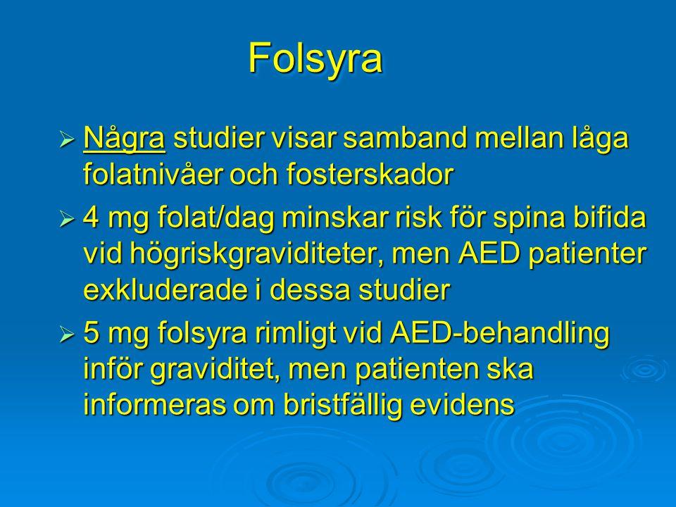 FolsyraFolsyra  Några studier visar samband mellan låga folatnivåer och fosterskador  4 mg folat/dag minskar risk för spina bifida vid högriskgravid