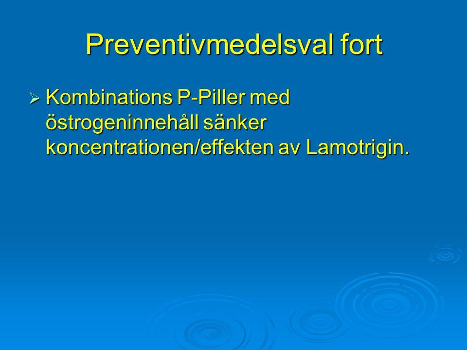 Preventivmedelsval fort  Kombinations P-Piller med östrogeninnehåll sänker koncentrationen/effekten av Lamotrigin.