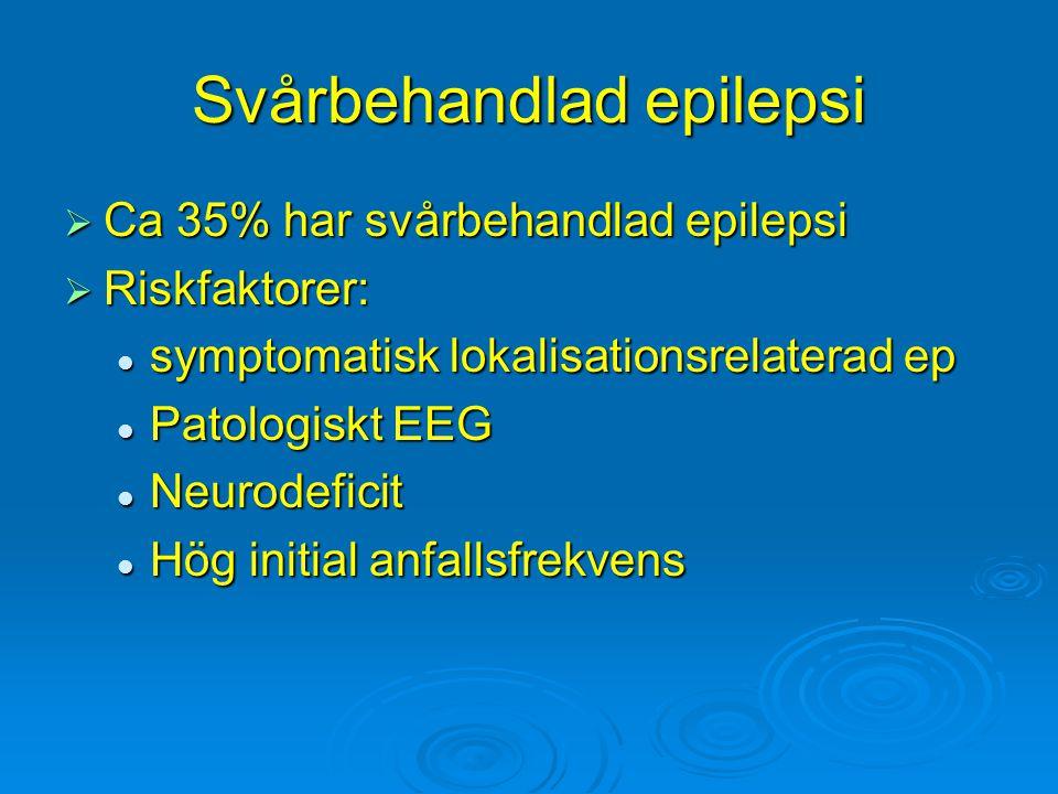 Svårbehandlad epilepsi  Ca 35% har svårbehandlad epilepsi  Riskfaktorer: symptomatisk lokalisationsrelaterad ep symptomatisk lokalisationsrelaterad