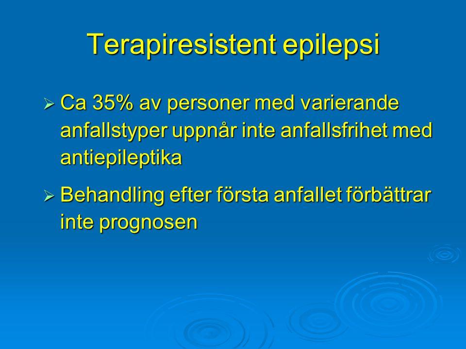 Terapiresistent epilepsi  Ca 35% av personer med varierande anfallstyper uppnår inte anfallsfrihet med antiepileptika  Behandling efter första anfal