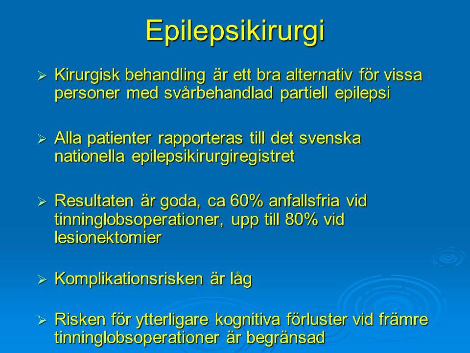 Epilepsikirurgi  Kirurgisk behandling är ett bra alternativ för vissa personer med svårbehandlad partiell epilepsi  Alla patienter rapporteras till