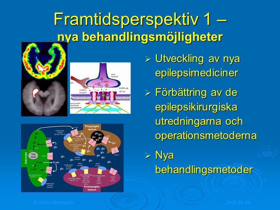 2005-05-09Kristina Malmgren Framtidsperspektiv 1 – nya behandlingsmöjligheter  Utveckling av nya epilepsimediciner  Förbättring av de epilepsikirurg