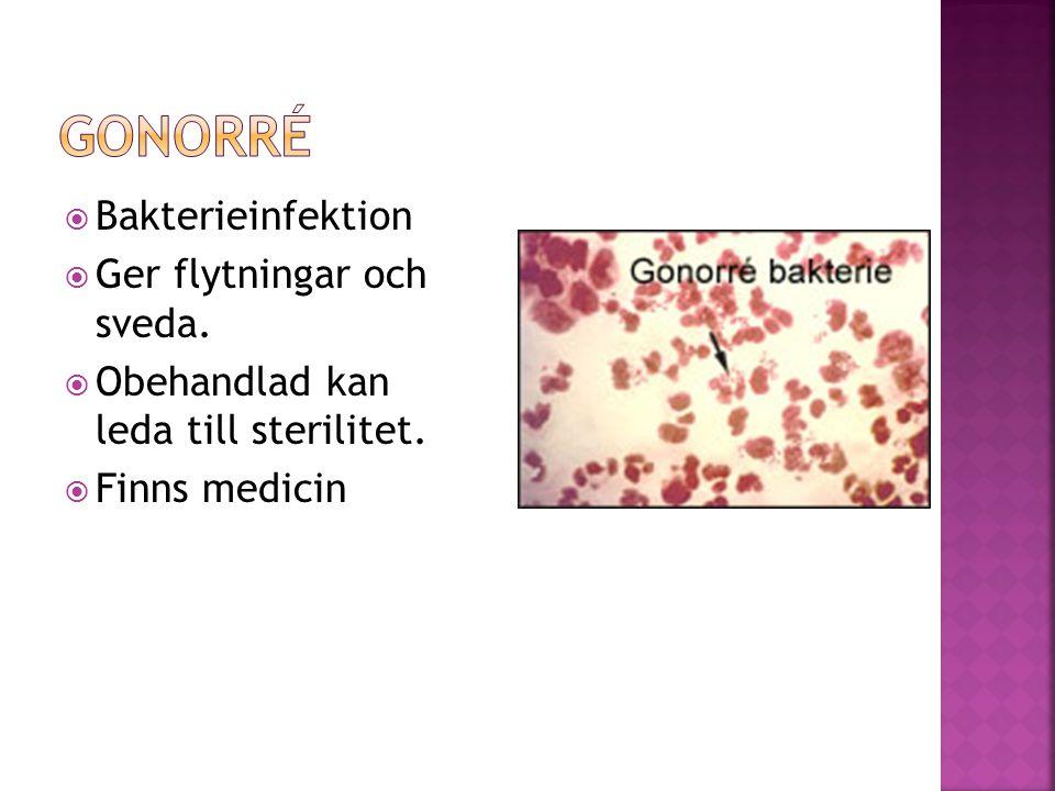  Bakterieinfektion  Ger flytningar och sveda.  Obehandlad kan leda till sterilitet.  Finns medicin