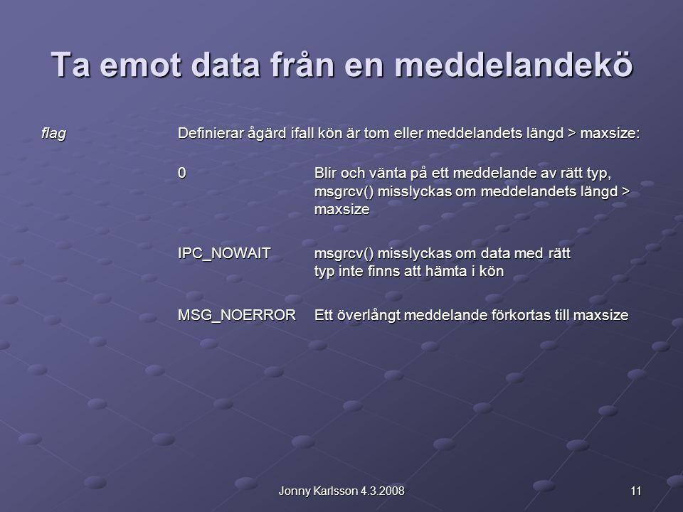 11Jonny Karlsson 4.3.2008 Ta emot data från en meddelandekö flagDefinierar ågärd ifall kön är tom eller meddelandets längd > maxsize: 0Blir och vänta på ett meddelande av rätt typ, msgrcv() misslyckas om meddelandets längd > maxsize IPC_NOWAITmsgrcv() misslyckas om data med rätt typ inte finns att hämta i kön MSG_NOERROREtt överlångt meddelande förkortas till maxsize
