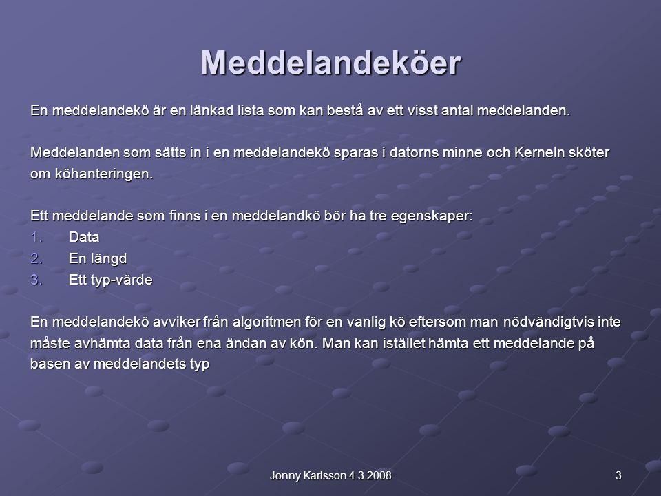3Jonny Karlsson 4.3.2008 Meddelandeköer En meddelandekö är en länkad lista som kan bestå av ett visst antal meddelanden.