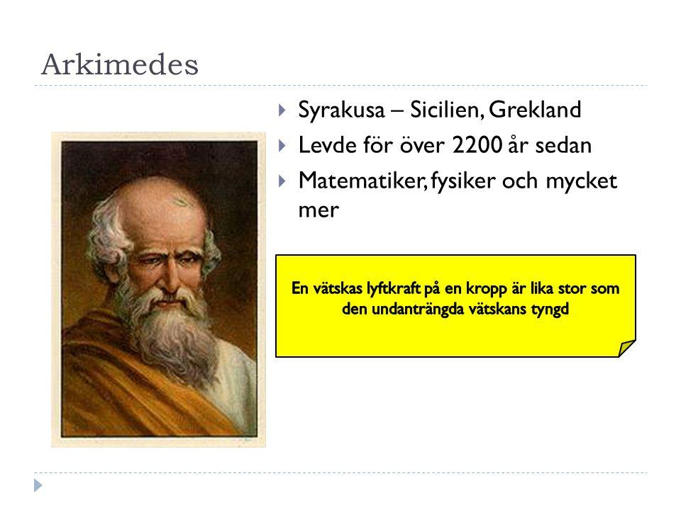 Arkimedes  Syrakusa – Sicilien, Grekland  Levde för över 2200 år sedan  Matematiker, fysiker och mycket mer