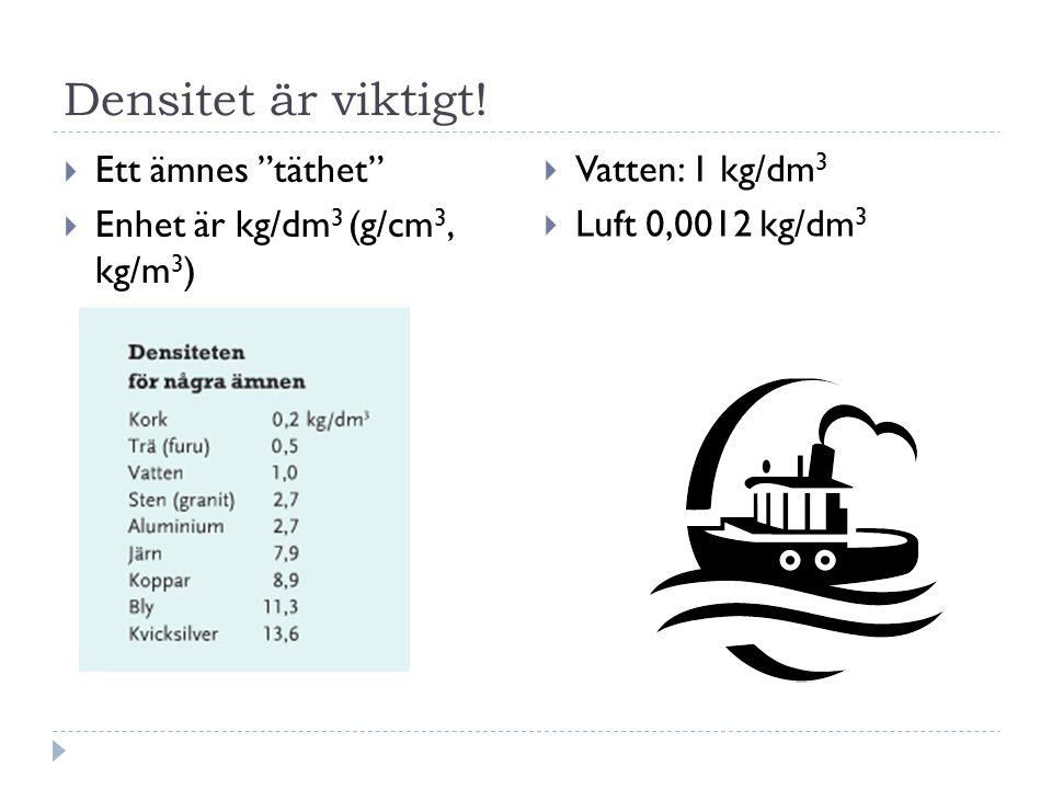 """Densitet är viktigt!  Ett ämnes """"täthet""""  Enhet är kg/dm 3 (g/cm 3, kg/m 3 )  Vatten: 1 kg/dm 3  Luft 0,0012 kg/dm 3"""