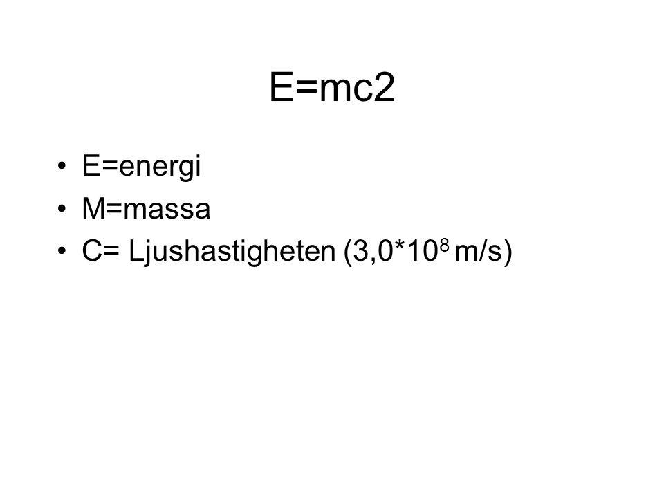 E=mc2 E=energi M=massa C= Ljushastigheten (3,0*10 8 m/s)