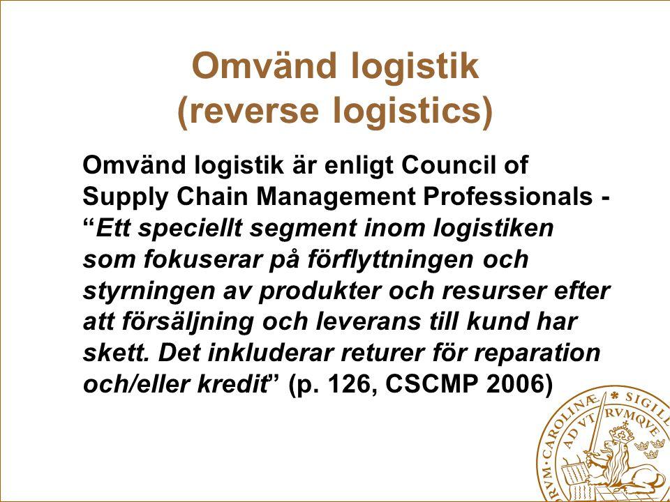 """Omvänd logistik (reverse logistics) Omvänd logistik är enligt Council of Supply Chain Management Professionals - """"Ett speciellt segment inom logistike"""