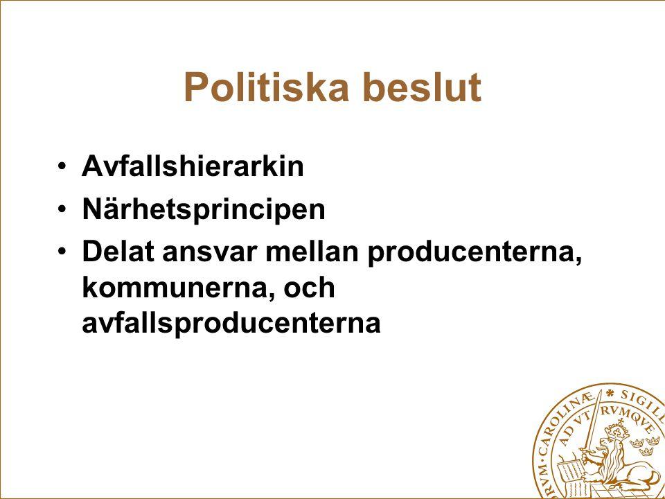 Politiska beslut Avfallshierarkin Närhetsprincipen Delat ansvar mellan producenterna, kommunerna, och avfallsproducenterna