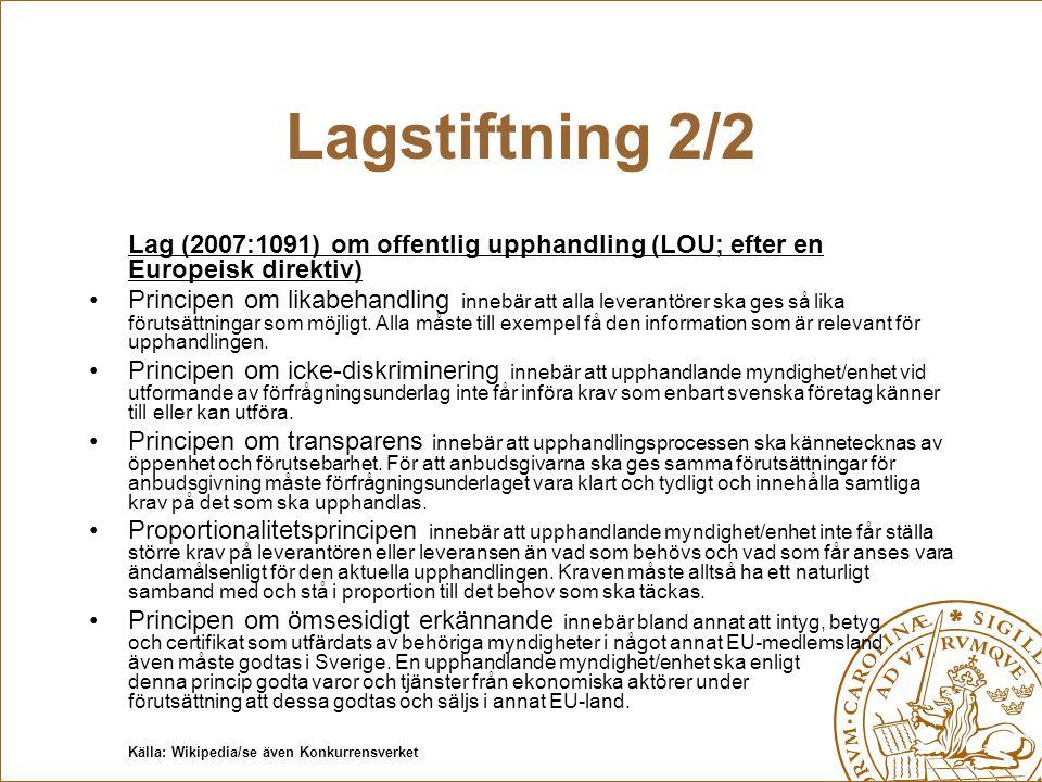 Lagstiftning 2/2 Lag (2007:1091) om offentlig upphandling (LOU; efter en Europeisk direktiv) Principen om likabehandling innebär att alla leverantörer