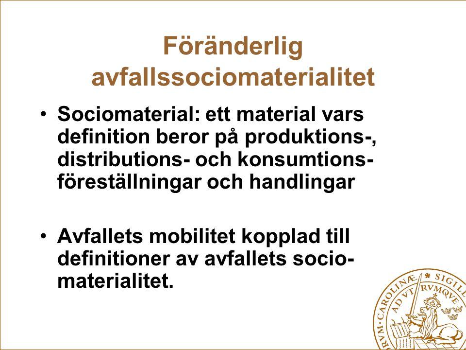 Föränderlig avfallssociomaterialitet Sociomaterial: ett material vars definition beror på produktions-, distributions- och konsumtions- föreställninga