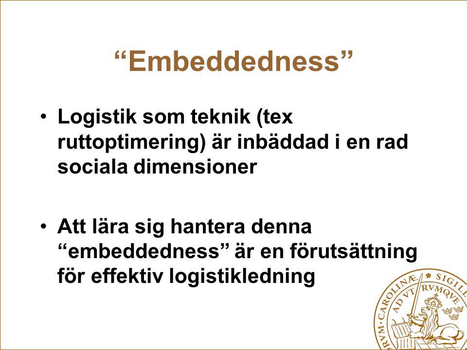 """""""Embeddedness"""" Logistik som teknik (tex ruttoptimering) är inbäddad i en rad sociala dimensioner Att lära sig hantera denna """"embeddedness"""" är en förut"""