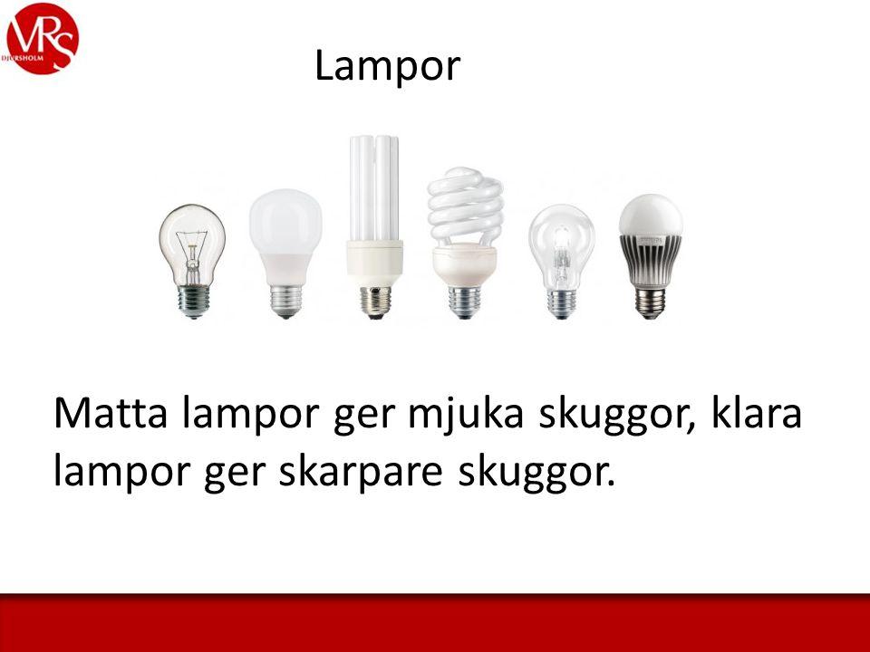 Lampor Matta lampor ger mjuka skuggor, klara lampor ger skarpare skuggor.