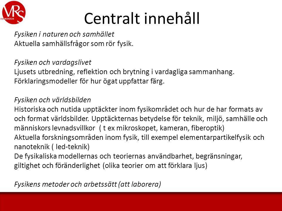 Centralt innehåll Fysiken i naturen och samhället Aktuella samhällsfrågor som rör fysik.