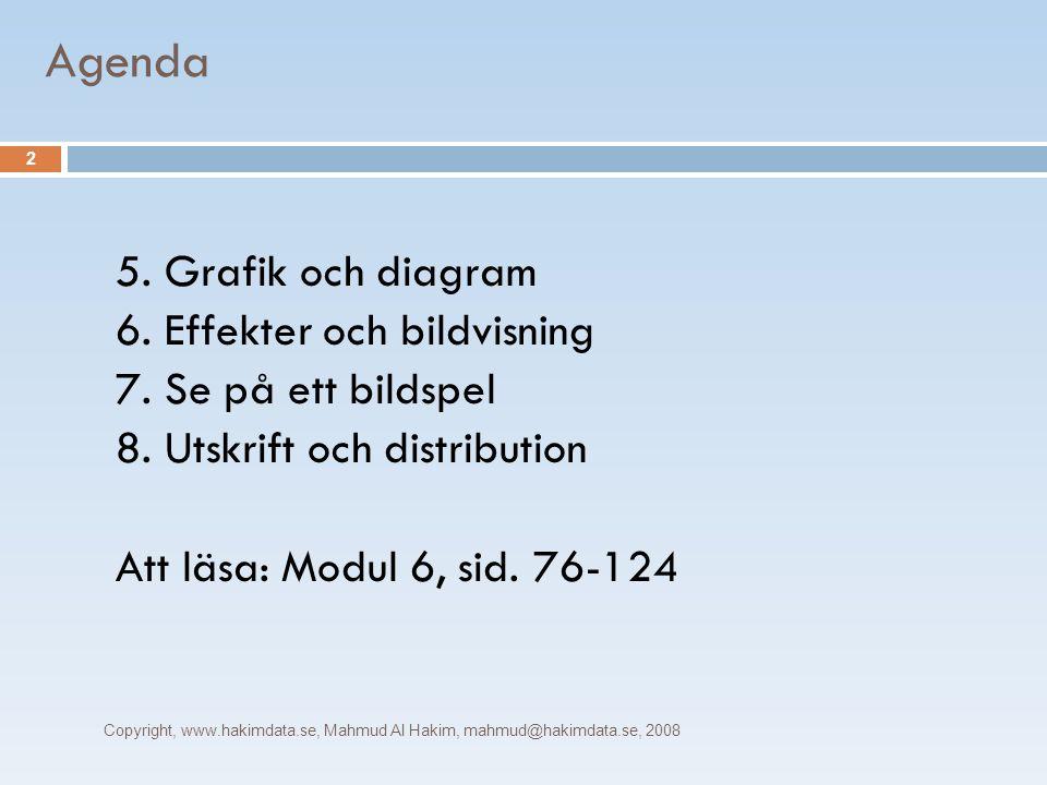 Agenda Copyright, www.hakimdata.se, Mahmud Al Hakim, mahmud@hakimdata.se, 2008 2 5. Grafik och diagram 6. Effekter och bildvisning 7. Se på ett bildsp