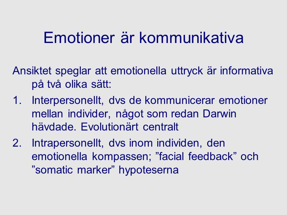 Emotioner är kommunikativa Ansiktet speglar att emotionella uttryck är informativa på två olika sätt: 1.Interpersonellt, dvs de kommunicerar emotioner