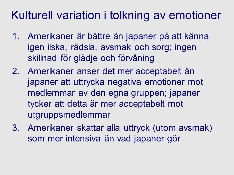Kulturell variation i tolkning av emotioner 1.Amerikaner är bättre än japaner på att känna igen ilska, rädsla, avsmak och sorg; ingen skillnad för glä