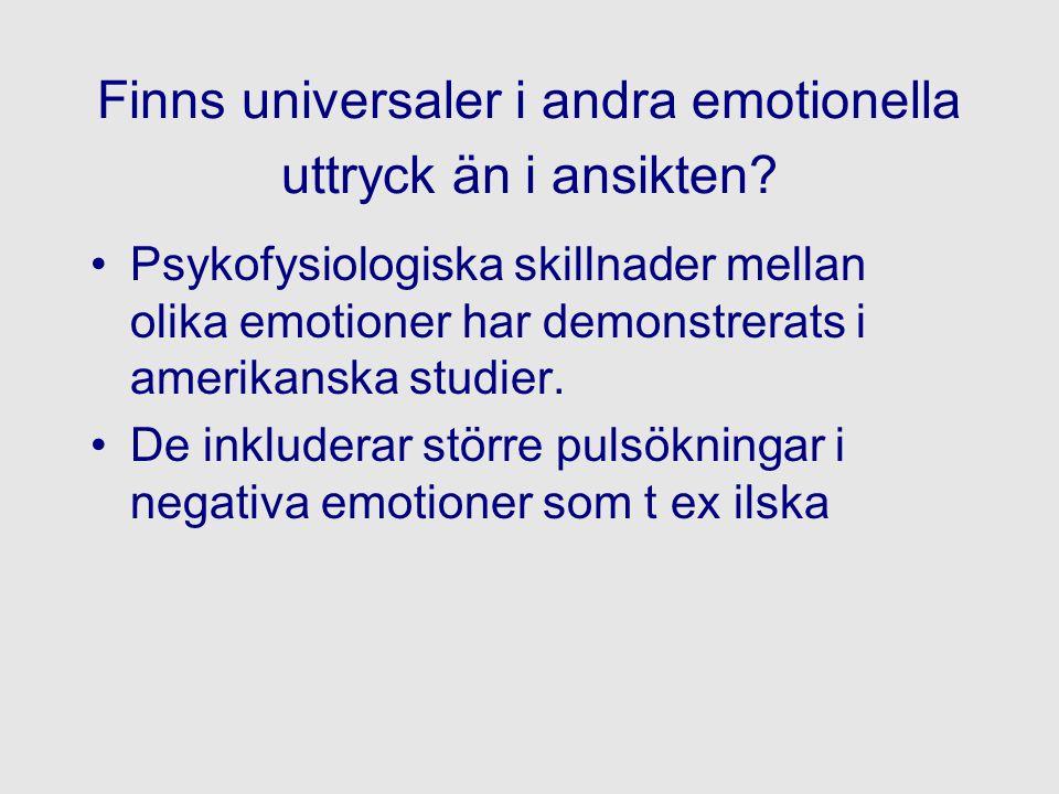 Finns universaler i andra emotionella uttryck än i ansikten? Psykofysiologiska skillnader mellan olika emotioner har demonstrerats i amerikanska studi