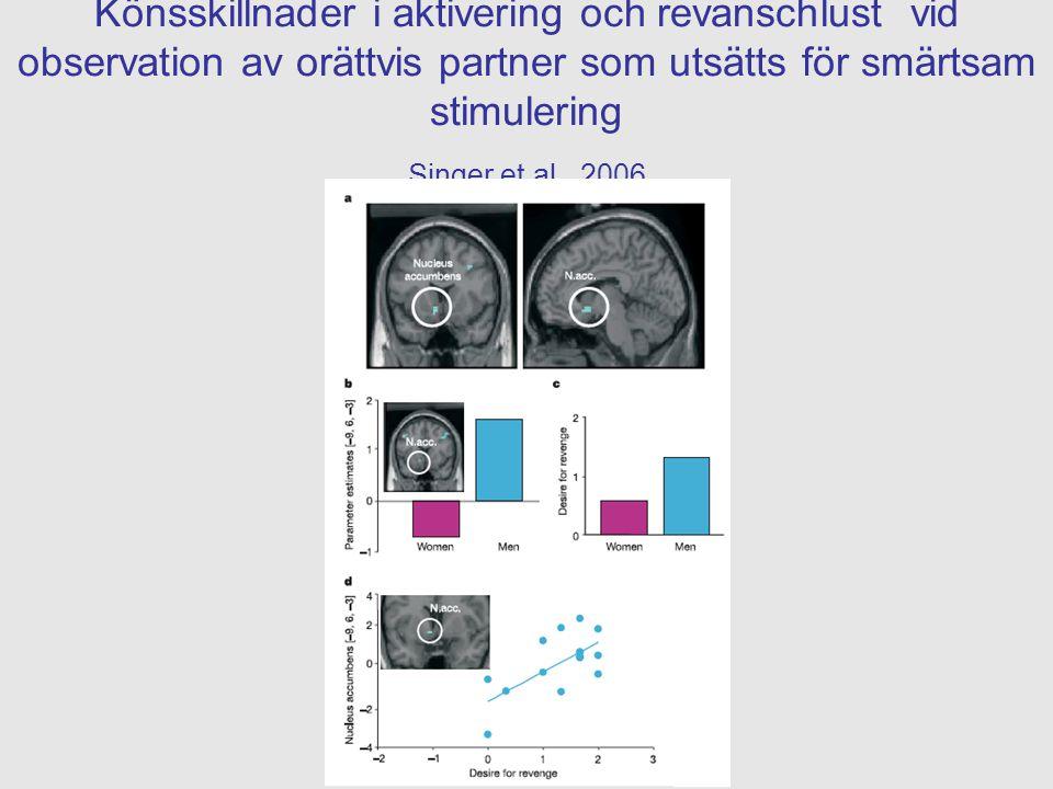Könsskillnader i aktivering och revanschlust vid observation av orättvis partner som utsätts för smärtsam stimulering Singer et al., 2006