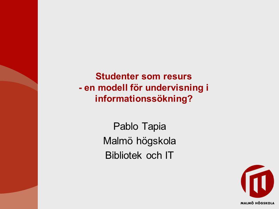 Studenter som resurs - en modell för undervisning i informationssökning.