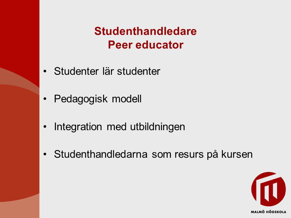 Studenthandledare Peer educator Studenter lär studenter Pedagogisk modell Integration med utbildningen Studenthandledarna som resurs på kursen