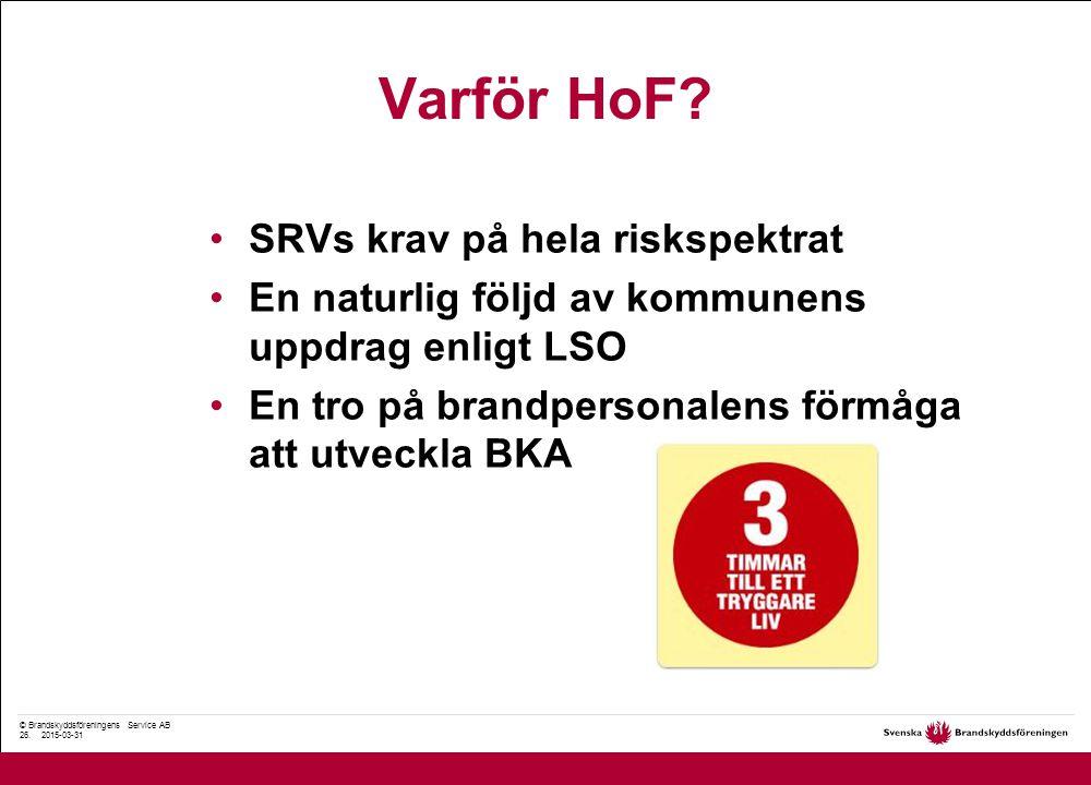 © Brandskyddsföreningens Service AB 26. 2015-03-31 Varför HoF.