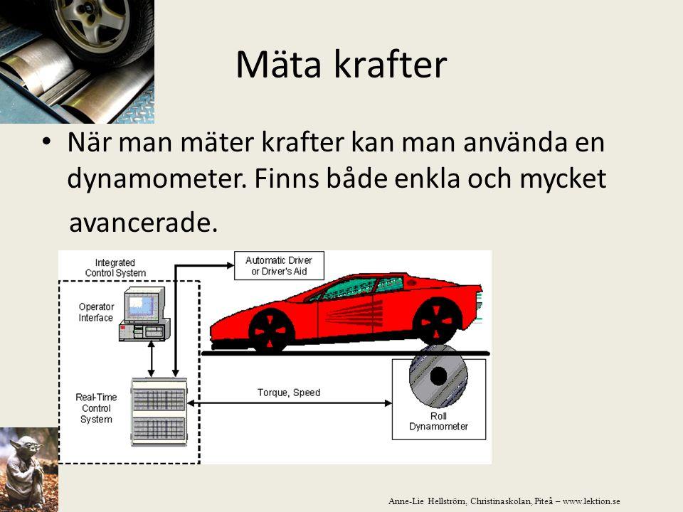 Mäta krafter När man mäter krafter kan man använda en dynamometer. Finns både enkla och mycket avancerade. Anne-Lie Hellström, Christinaskolan, Piteå