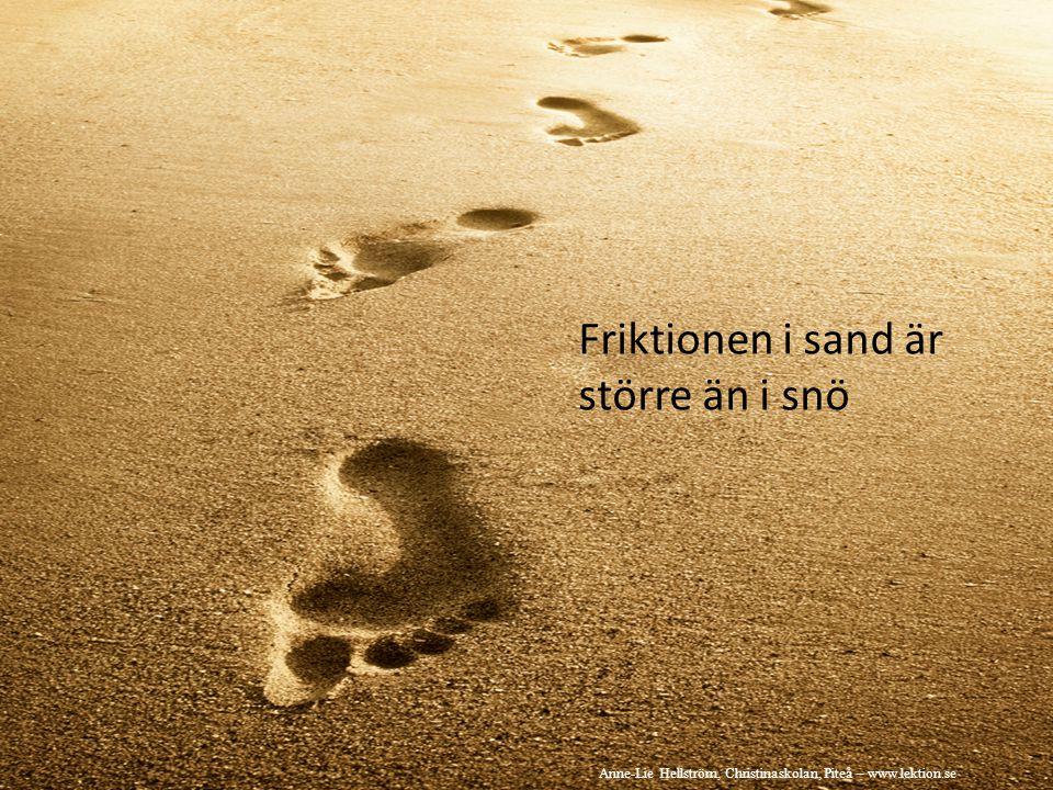 Friktionen i sand är större än i snö Anne-Lie Hellström, Christinaskolan, Piteå – www.lektion.se