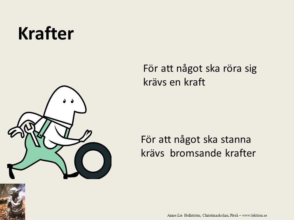 Krafter För att något ska röra sig krävs en kraft För att något ska stanna krävs bromsande krafter Anne-Lie Hellström, Christinaskolan, Piteå – www.le