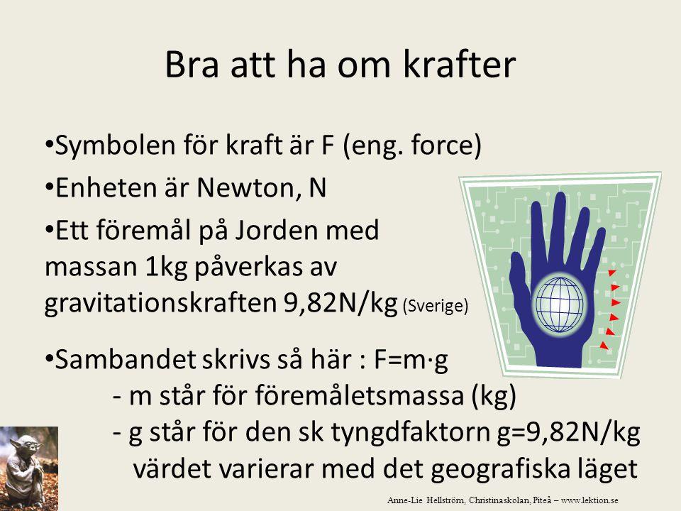 Bra att ha om krafter Symbolen för kraft är F (eng. force) Enheten är Newton, N Ett föremål på Jorden med massan 1kg påverkas av gravitationskraften 9