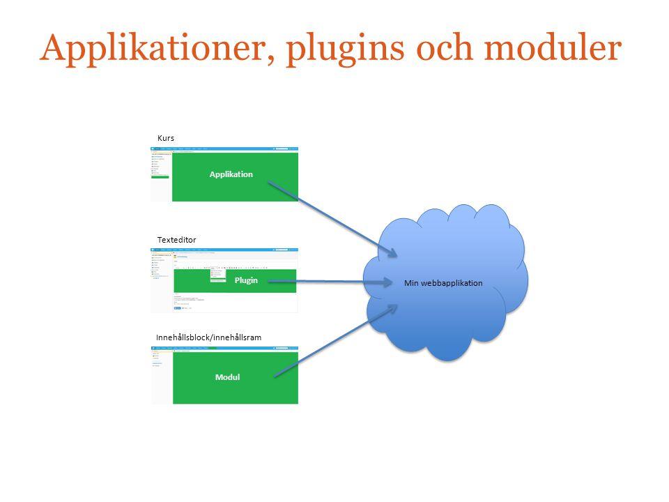 Applikationer, plugins och moduler Kurs Applikation Min webbapplikation Plugin Texteditor Innehållsblock/innehållsram Modul